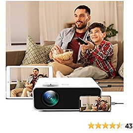 Video Projector + Portable Package Box - HD Mini Movie Projector Support 1080P Wired Synchronize Mirroring Function, Dual Speakers, Multiple Interfaces for Bedroom, Home Theater, Outdoor (White)
