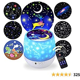 Kids Night Light Projector,Remote Control Star Light Projector with LED Timer and USB Cable, 360 Degree Rotation Kid Night Light Lamp Bedroom Best Gifts for Kid,7 Set of Films