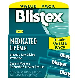 3-Count Blistex Medicated Lip Balm, 0.15 Ounce for $2.63