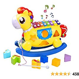 STOTOY Baby Music Toy, Toddler Music Toys with Xylophone, Educational Baby Toy with Lights, Music, Blocks, Shape Sorter 5-in-1 Pony Toy Baby Birthday Gifts for Boys Girls