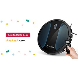 Limited-time Deal: Coredy Robot Vacuum Cleaner, Fully Upgraded, Boundary Strip Supported, 360° Smart Sensor Protection, Strong Max Suction, Super Quiet, Self-Charge Robotic Vacuum, Cleans Pet Fur, Hard Floor to Carpet