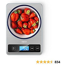 Digital Kitchen Scale, Homever 15kg Food Scale Weight Grams and Ounces for Cooking Baking, 1g Accuracy and Back-lit LCD Display, 9 X 6.3in Big Panel