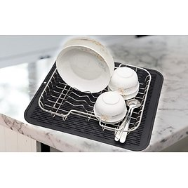 ZLR Silicone Dish Drying Mat 2 Packs Easy Clean Dishwasher Heat Resistant Eco-Friendly Trivet 16 Inches X 18 Inches Black