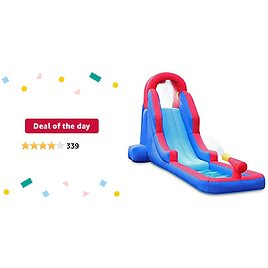 Deal of The Day: Deluxe Inflatable Water Slide Park – Heavy-Duty Nylon for Outdoor Fun - Climbing Wall, Slide, & Small Splash Pool – Easy to Set Up & Inflate with Included Air Pump & Carrying Case