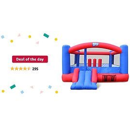 Deal of The Day: Inflatable Bounce House | Giant 12x10.5 Feet Blow-Up Jump Bouncy Castle for Kids with Air Blower, Carry Bag, Stakes & Repair Kit | Easy Set Up for Hours of Backyard Play & Party Fun | Ages 3-10