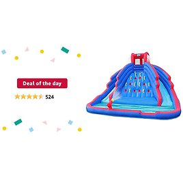 Deal of The Day: Deluxe Inflatable Water Slide Park – Heavy-Duty Nylon Bouncy Station for Outdoor Fun - Climbing Wall, Two Slides & Splash Pool – Easy to Set Up & Inflate with Included Air Pump & Carrying Case
