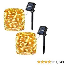 Joomer Upgraded Solar String Lights,2 Pack 39ft 120LED 8 Modes Copper Wire Outdoor String Lights, Waterproof Solar Fairy Lights Rope Lights for Patio,Garden,Yard,Party,Tree Decorations (Warm White)