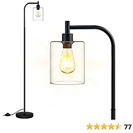 Floor Lamp, Standing Lamp with Glass Lampshade, 6W LED Bulb Included, Modern Floor Lamp with Foot Switch, Industrial Floor Lamp, Bright LED Floor Lamp for Living Room and Bedroom, Office, Simple Style