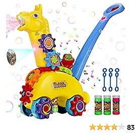 Forty4 Bubble Mower for Toddlers, Music & Light Bubble Lawn Mower, Anti-Leak Design Bubble Machine with Dinosaur Projector, Push Toy for Toddler, Gifts for Preschool Boys Girls 1-3 Year Old and Up