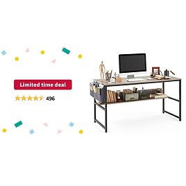 Limited-time Deal: Linsy Home Computer Desk with Bookshelf and Storage Bag, 55 Inch Study Writing PC Laptop Table, Home Office Desk, Modern Simple Design for Small Space, Grey