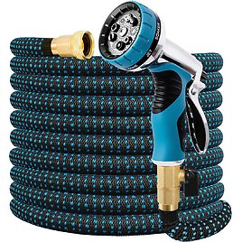 Double Couple Expandable Garden 50 FT Water Hose with 9 Function Nozzle for $14.99
