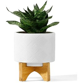 """POTEY 029411 Ceramic Planter with Wood Stand 5.2"""" Mid Century Plant Pots for $14.94"""
