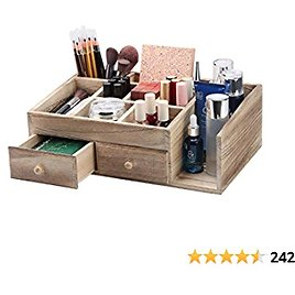 X-cosrack Rustic Wood Desk Cosmetic Office Drawer Jewelry Storage Organizer Box, Countertop Stationery Coffee Supplies Makeup Case for Bathroom Vanities Dresser Table