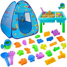 Forty4 27-Pieces Sand Rake and Shovel with Castles Molds Beach Toys for $16.20