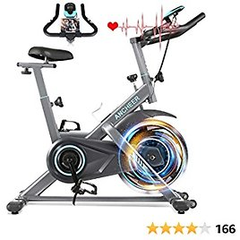 ANCHEER Exercise Bike Stationary, 49 Lbs Weight Capacity- Indoor Cycling Bike with Tablet Holder and LCD Monitor for Home Workout