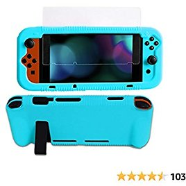 Kconn Protective Silicone Case for Nintendo Switch, Grip Cover with Tempered Glass Screen Protector, 2 Storage Slots for Game Cards, Soft and Durable, Shock-Absorption & Anti-Scratch (Blue)