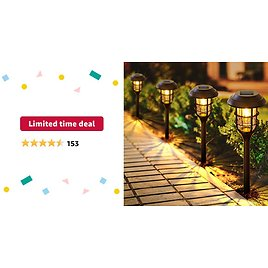 Limited-time Deal: LETMY Solar Pathway Lights Outdoor, 8 Pack Bright Solar Lights Outdoor, IP65 Waterproof Auto On/Off Solar Garden Lights Solar Powered Landscape Lighting for Yard Patio Walkway Driveway Pathway