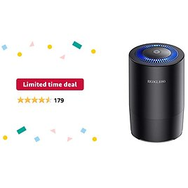 Limited-time Deal: RIGOGLIOSO Air Purifier for Home Bedroom, Capture 99.97% Airborne Particles As Small As 0.3 Microns, Compact HEPA Air Purifiers with Gentle Night Light(Light Can Be Turned Off ) Black