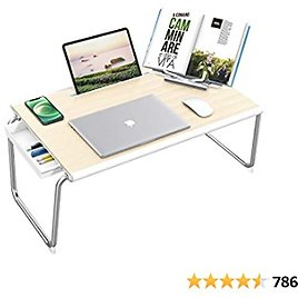 """Nulaxy Folding Table,XXL Large Size 26""""x17.2""""x12.2"""" Laptop Desk for Bed with Storage Drawer and Book Stand ,Sofa Table, Bed Table for Laptop, Folding Desk Working, Writing, Gaming, Drawing(White Oak)"""