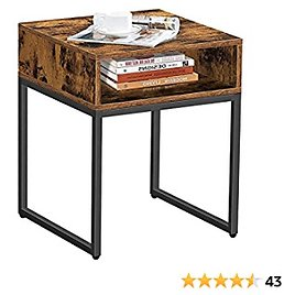 """BEEWOOT Industrial Nightstand, Bedside Table with Open Compartment, Bed, Metal Wood End Table for Living Room, Bedroom, 17.7 """"L × 17.7"""" W × 21.6 """"H, Rustic Brown and Black TB01BB009"""