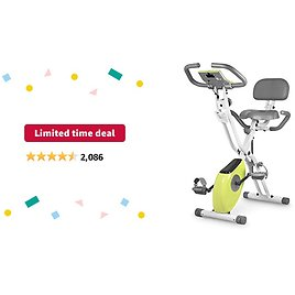 Limited-time Deal: Leikefitness LEIKE X Bike Ultra-Quiet Folding Exercise Bike, Magnetic Upright Bicycle with Heart Rate,LCD Monitor and Easy to Assemble 2200 (YELLOW)