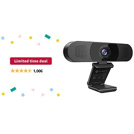 Limited-time Deal: 3 in 1 Webcam - EMeet C980 Pro Webcam with Microphone, 2 Speakers & 4 Built-in Omnidirectional Microphones Arrays, 1080P Webcam for Video Conferencing Streaming, Noise Reduction, Plug & Play, W/Cover