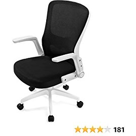 COMHOMA Ergonomic Office Chair Desk Chair Swivel Mid Back Modern Comfortable Computer Task Mesh Office Chairs with Adjustable Arms and Lumbar Support,White
