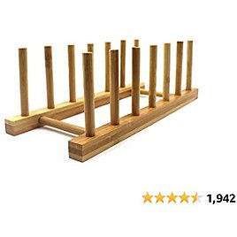 INNERNEED Bamboo Wooden Dish Rack Plates Holder Compact Kitchen Storage Cabinet Organizer for Dish/Plate/Bowl/Cup/Pot Lid/Cutting Board