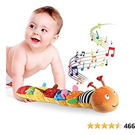 JERICETOY Baby Toys Musical Caterpillar Multicolor Infant Toy Crinkle Rattle Soft with Ruler Design, Bells and Rattle Educational Toddler Plush Toy for Newborn, Boys, Girls and Over 3 Month