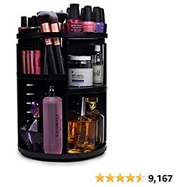 360 Rotating Makeup Organizer - Adjustable Shelf Height and Fully Rotatable. The Perfect Cosmetic Organizer for Bedrooms