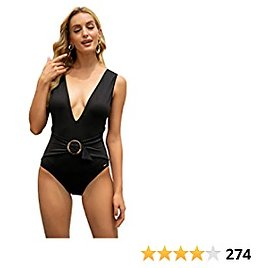 One Piece Swimsuit for Women V-Neck Ruffle Bathing Suits Women