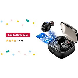 Limited-time Deal: Wireless Earbuds Bluetooth 5.0 Mini Headphones, Hi-Fi Stereo In-Ear Earphones with 300Mah Charging Case, Touch Control, IPX5 Waterproof Headset with LED Display Built-in Mic for Sports, Workout, Gym