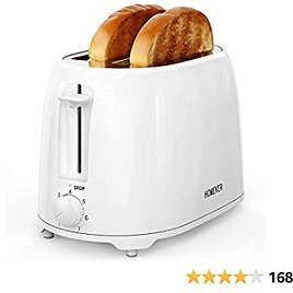 HOMEVER Toaster 2 Slice, White Toaster Best Rated Prime, 7 Bread Settings White Toaster with 1.5 Inch Wide Slot and Double Side Baking, Removable Crumb Tray, for Various Bread Types, 900W