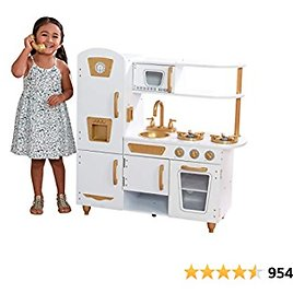 KidKraft Modern White Play Kitchen & 27-pc. Matching Cookware Set with 1 Piece Accessory Play Set, Gift for Ages 3+