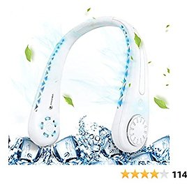 Portable Neck Fan, Personal USB Cooling Fan with 3 Level Air Flow, Rechargeable Bladeless Fan with Headphone Design,1800mAh Battery Capacity, Perfect for Sports, Office and Outdoor