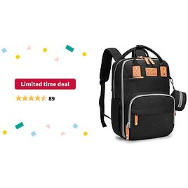 Limited-time Deal: Diaper Bag Backpack for Boys and Girls, Baby Nappy Bag Included Pacifier Case, Diaper Changing Mat and Stroller Straps, Large Capacity Back Pack Baby Bag