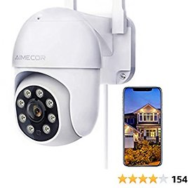 Outdoor Security Camera, AIMECOR FHD 1080P Pan/Tilt 2.4G WiFi Home Surveillance Camera with Night Vision 2-Way Audio Cloud Motion Detection Activity Alert IP66 Waterproof Cloud Alexa - IOS, Android