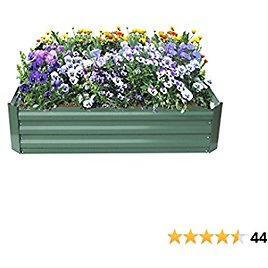 Raised Garden Bed, Patio Garden Flower Planter, Elevated Garden Planter Box for Growing Herbs, Vegetables, Flowers,Powder-Coated Metal,Green, 4' L X3' W X1'H