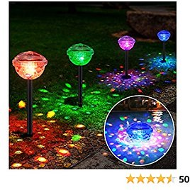 Solar Lights Outdoor Decorative, BUCASA 2-in-1 Garden Lights Solar Powered Pool Lights, Auto Color Changing, Outdoor Solar Pathway Lights for Landscape, Driveway, Walkway, Yard, Party - 4 Pack