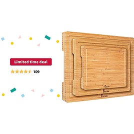 Limited-time Deal: Bamboo Cutting Board, (Set of 3) Heavy Duty Kitchen Chopping Board with Juice Groove Wood Butcher Block and Wooden Carving Board Serving Tray, Kikcoin