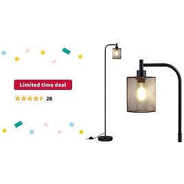 Limited-time Deal: Industrial Floor Lamp, Standing Lamp with Hanging Iron Mesh Lamp Shade, 6W LED Bulb, Whole Metal Farmhouse Floor Lamp with Foot Switch, Rustic Floor Lamps for Living Room Bedroom and Office, Black