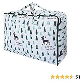 OUPAI 105L Extra Large Storage Bag with Zipper and Handles, Under Bed Storage Bag for Clothes, Blankets, Comforter, Pillows, Heavy Moving Bags for Clothes Storage, Bedroom Closet, Dust Proof and Waterproof(Deer, 1 Pack XXL)