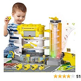 TEMI Electric Parking Garage for Engineering Trucks, 3-Story Parking Lot with Light & Sound, Race Track Toy for Construction Vehicles, Suitable for Kids 3 4 5 6 Years (Required 2 AA Batteries)