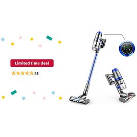 Limited-time Deal: Cordless Vacuum Cleaner, 55 Minutes Long Runtime Cordless Vacuum with Smart Sensor Tech, 4 in 1 Upgraded V-Shape Brush Portable Vacuum Cleaner for Hard Floor Pet Hair