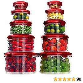 Lockcoo Food Storage Containers with Lids, 10 PCS Leakproof Round Plastic Storage Containers Sets for Food, Stackable BPA Free Kitchen Storage Containers Set Freezer Safe Lunch Containers