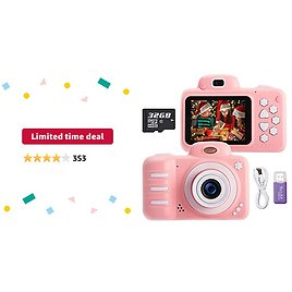 Limited-time Deal: KUMUKA Kids Camera for Girls 8.0MP Child Camera with 2.4 Inch Screen and 32GB Memory Card, Rechargeable Children Camcorder for Girls Boys Gift, Support Flashlight/Video Recording/Playback (Pink)