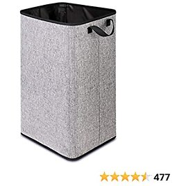 """24.5"""" Tall Laundry Basket, 84L Extra Large Portable Laundry Hamper with Sturdy Handles, Support Rods, Rectangular Collapsible Basket for Nursery, Dorm, Grey Fabric Dirty Laundry Hamper for Organizing"""
