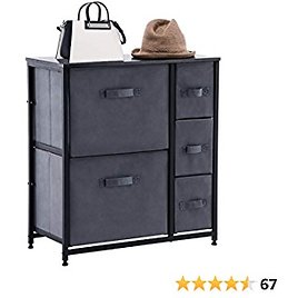 YOUDENOVA Fabric Dresser for Bedroom, 5 Drawers Closet Dresser Storage Organizer Tower for Clothes Storage, Baby Chest of Drawers Organizer, Grey