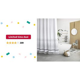 Limited-time Deal: RoomTalks Boho Tassel Plastic Shower Curtain White Extra Long 78-Inch Heavy Weighted Bathroom Shower Curtain Sets Simple Modern Geometric Minimalist Design (72''W X 78''L, White)