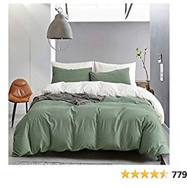 ECOCOTT Duvet Cover Set Queen, 100% Washed Cotton Reversible 1 Sage Green & White Duvet Cover with Zipper and 2 Pillowcases, Ultra Soft and Easy Care Breathable Cozy Bedding Set
